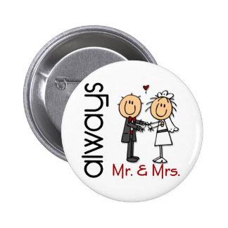 Figura Sr. y señora Always del palillo de los Pin Redondo De 2 Pulgadas