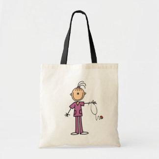Figura triguena enfermera del palillo bolsa tela barata