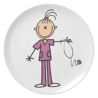 Figura triguena enfermera del palillo platos de comidas