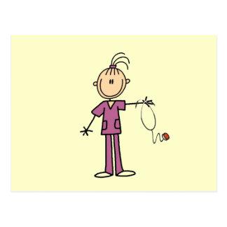 Figura triguena enfermera del palillo postales