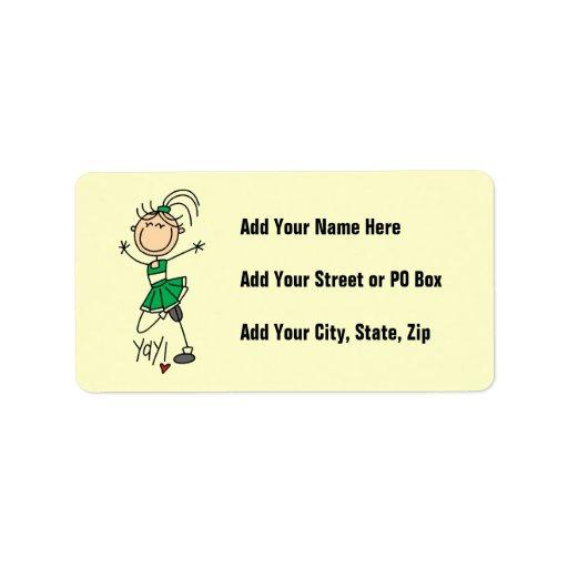 Figura verde camisetas y regalos del palillo de la etiqueta de dirección