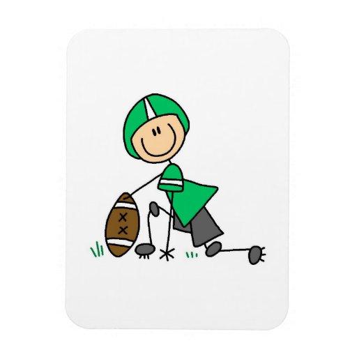 Figura verde del palillo del fútbol imán rectangular