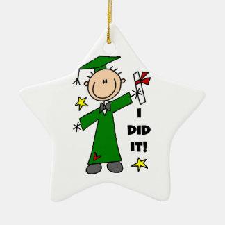 Figura verde graduado del palillo del varón ornamento de navidad