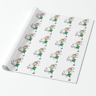 Figura verde papel del palillo de embalaje de la papel de regalo