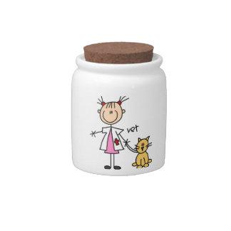 Figura veterinaria del palillo jarras para caramelos