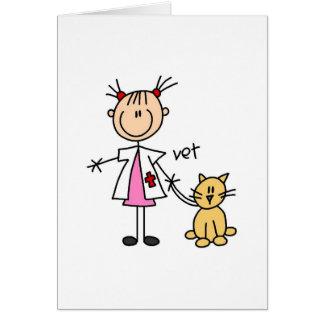 Figura veterinaria del palillo tarjeta de felicitación