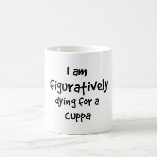Figurado muriendo por una taza de Cuppa