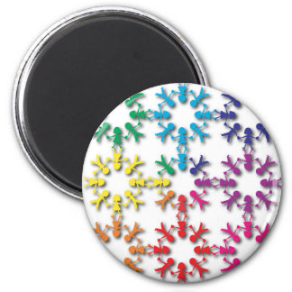 figuras coloridas de la gente imán redondo 5 cm