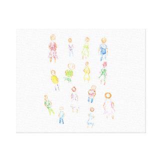 Figuras coloridas de la gente que dibujan b claro  impresiones en lienzo estiradas