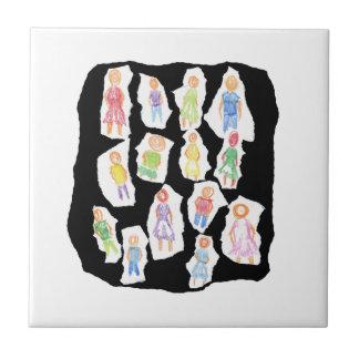 Figuras coloridas de la gente que dibujan el papel azulejo cuadrado pequeño
