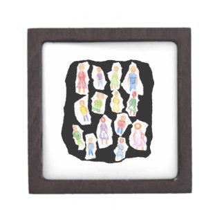 Figuras coloridas de la gente que dibujan el papel cajas de recuerdo de calidad