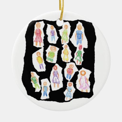 Figuras coloridas de la gente que dibujan el papel adorno redondo de cerámica