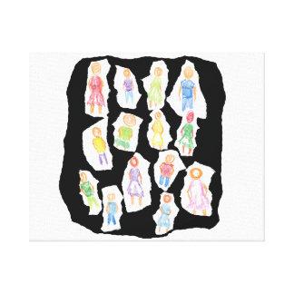 Figuras coloridas de la gente que dibujan el papel impresión en lienzo