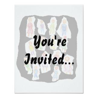 """Figuras coloridas de la gente que dibujan el papel invitación 4.25"""" x 5.5"""""""