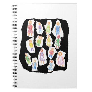 Figuras coloridas de la gente que dibujan el papel libros de apuntes