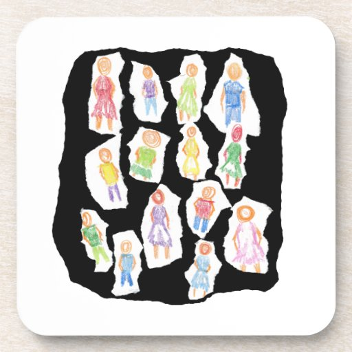 Figuras coloridas de la gente que dibujan el papel posavasos de bebidas