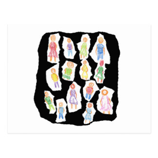 Figuras coloridas de la gente que dibujan el papel postales