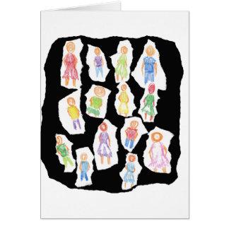 Figuras coloridas de la gente que dibujan el papel tarjeta pequeña