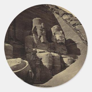 Figuras colosales, Abu Sunbul, Egipto Pegatina Redonda