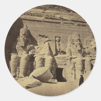Figuras colosales, el gran templo en Abu Sunbul Pegatina Redonda