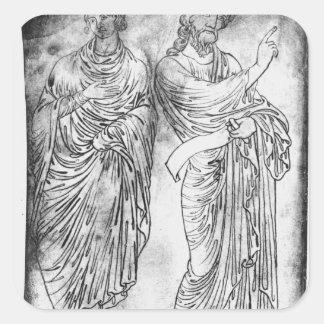 Figuras de dos apóstoles o profetas pegatina cuadrada