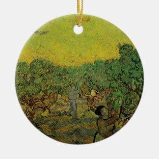 Figuras de la cosecha de la arboleda verde oliva adorno navideño redondo de cerámica