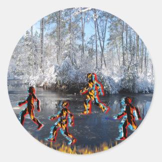 Figuras del fuego y del hielo de CRPS RSD en NC Pegatina Redonda