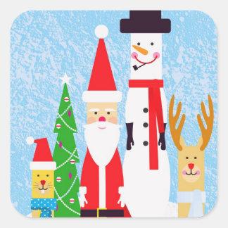 Figuras del navidad pegatina cuadrada