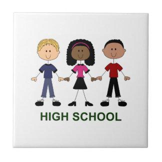 Figuras del palillo de la High School secundaria Azulejo Cuadrado Pequeño