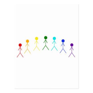 Figuras del palillo del arco iris - 2 tarjetas postales