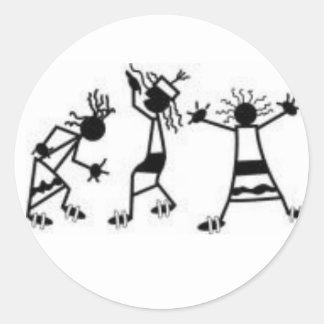 figuras del palillo del baile etiquetas redondas