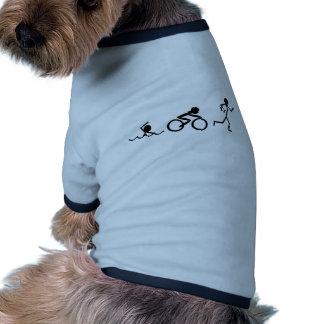Figuras del palillo del Triathlon Camiseta Con Mangas Para Perro