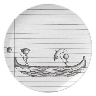 Figuras del palillo en un barco de la góndola plato para fiesta