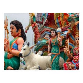 Figuras del templo hindú, la poca India Tarjeta Postal