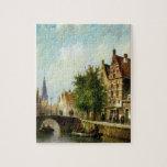 Figuras en un canal, Amsterdam (aceite en el panel Rompecabeza Con Fotos