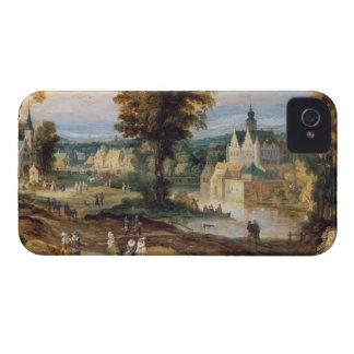 Figuras en un paisaje con bey del pueblo y del iPhone 4 Case-Mate cárcasa