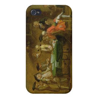Figuras en una taberna o un café, 1720s (aceite en iPhone 4 fundas