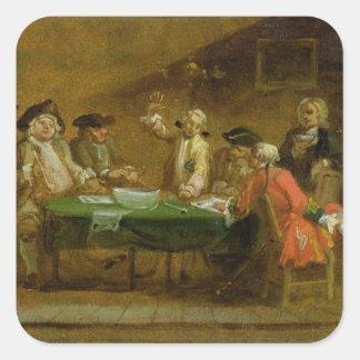 Figuras en una taberna o un café, 1720s (aceite pegatina cuadrada
