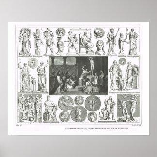 Figuras legendarias de la mitología griega y roman póster