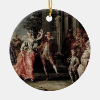 Figuras que bailan fuera de un palacio pares con adornos