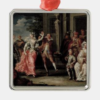Figuras que bailan fuera de un palacio pares con adorno