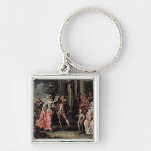Figuras que bailan fuera de un palacio (pares con  llavero personalizado