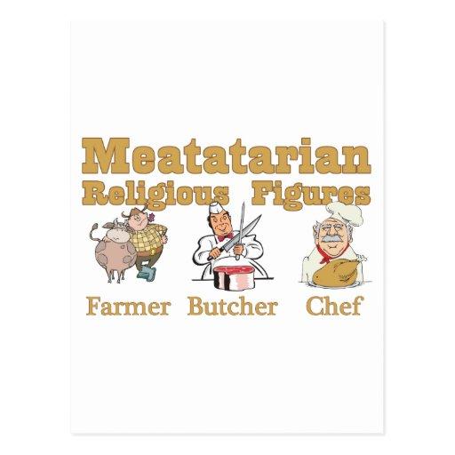 Figuras religiosas de Meatatarian Tarjetas Postales