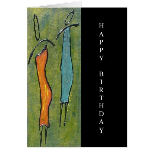 Figurative Women Happy Birthday Art Card
