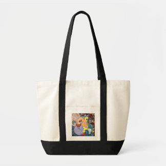 Figure and a rooster by rafi talby tote bag