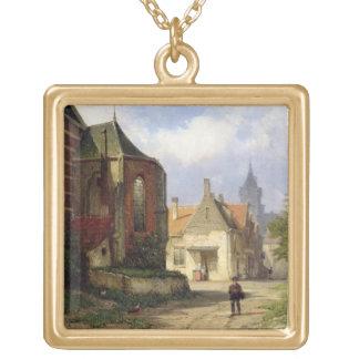 Figure before a Redbrick Church in a Dutch Town (o Custom Necklace