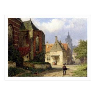 Figure before a Redbrick Church in a Dutch Town (o Postcard