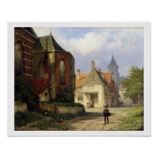 Figure before a Redbrick Church in a Dutch Town (o Poster