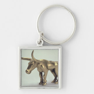 Figure of a bull Silver-Colored square keychain