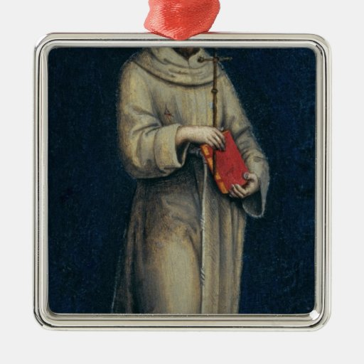 Figure of a Franciscan Monk Square Metal Christmas Ornament